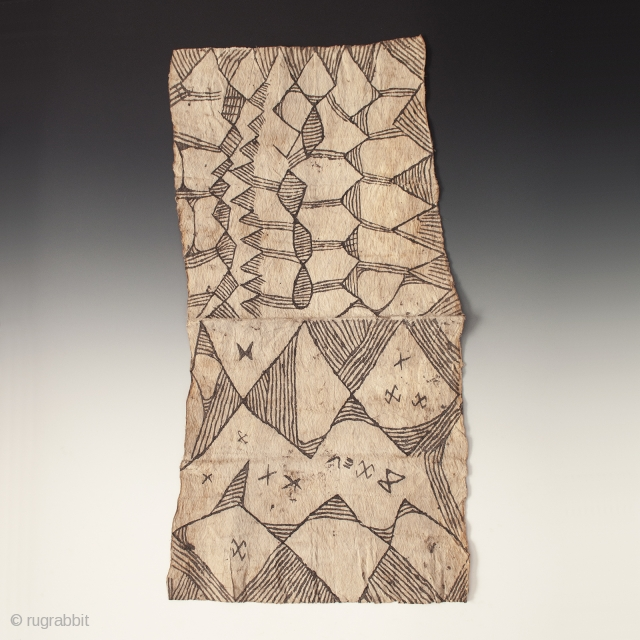 Painted bark cloth, Efe people, Ituri Forest, D. R. Congo. Pounded bark cloth, natural dye, 20th century, 36.5 by 19″ (92.7 by 48.2 cm).