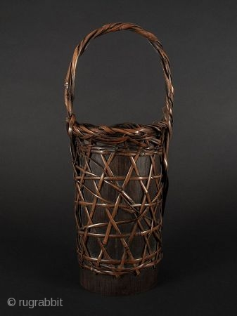 Japanese Antique Bamboo Flower Basket