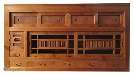 Japanese Half Section 6ft Mizuya Japanese half section Mizuya (kitchen buffet tansu) with four Keyaki burl front panels opening to a wide, narrow open space along the top of the chest. Below this  ...
