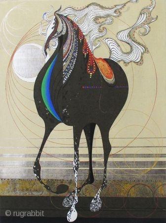 "Large Nakayama Tadashi Woodblock Print of Horse, Titled, ""Cyclone"" Large Japanese woodblock print of a horse by the artist Nakayama, Tadashi (born 1927). Titled, ""Cyclone"". This image of a horse stands with it's  ..."