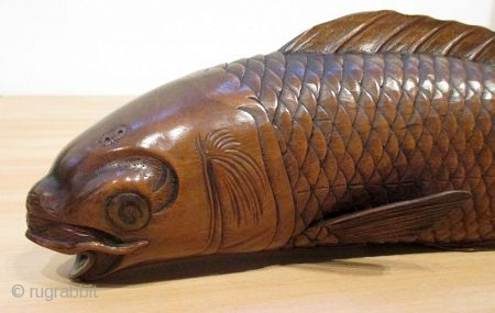 Antique Japanese Carved Okimono of Swimming Carp
