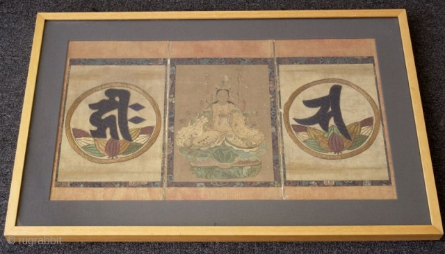 Rare Japanese Muromachi Embroidered Triptych of Eight Armed Kannon