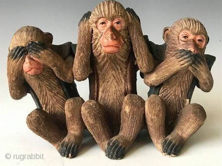 Japanese Terracotta Three Wise Monkeys