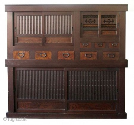 Antique Japanese 2 Section Mizuya    Japanese two section mizuya (kitchen tansu for storage). Constructed of Hinoki (cypress) wood frame with Sugi (cedar) wood, original dark finish. The top section holds a compartment behind  ...