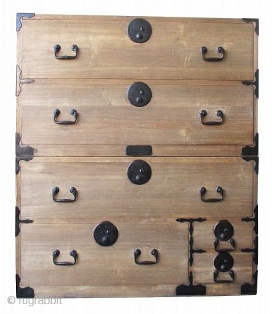 Japanese Antique 2-section Kiri Isho Tansu  Antique Japanese isho tansu (chest on chest for clothing), made all of kiri (paulownia) wood. The top section has two large drawers while the bottom section has  ...
