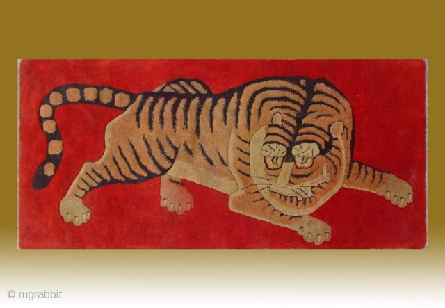 "No.R154 * Chinese Antique Tiger Rug ,Age: Early 20th Century.Size: 63x132cm(2'1""x4'4"").Origin: Baotou-Suiyuan. Shape: Rectangle. Background Color: Reds."