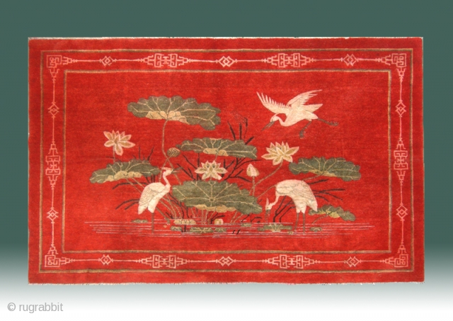 "No.M29 * Chinese Antique ""Egrets + Lotus"" "" Rug . Origin: Shanxi-Yulin. Shape: Rectangle Age:19th Century Size:131x203cm(4'4""x6'8""). Background Color:Reds.  