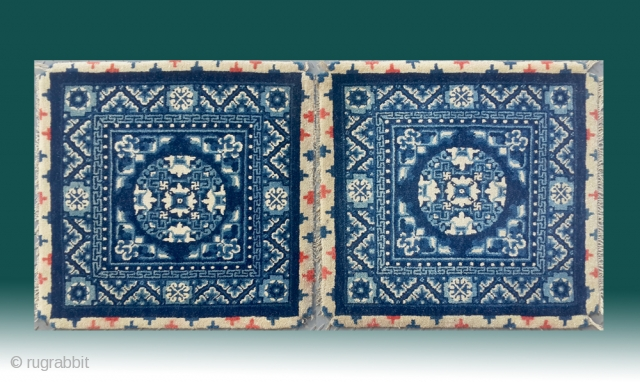 "No.DX004 * Chinese Mat-Rugs. Origin: Baotou Shape: Rectangle Age: About 100 Years Old.Size: 68x68cm(2'3""x2'3"") x 2.Background Color: Whites"