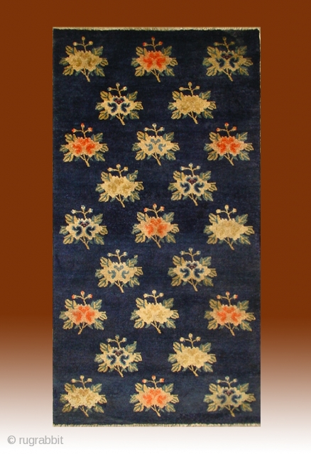 "No.R047 * Chinese Antique ""Wealthy and Auspicious Peony"" Rug ,Origin: Baotou.Age: 19th Century. Size: 67x132cm(26""x52""). All vegetable dye."