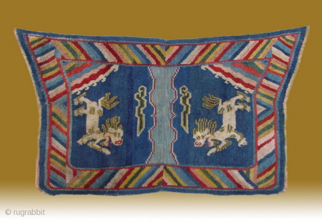 "No.A0056 * Tibet  ""Fo Dog"" Laddy Saddle Rug, Size:70x124cm(28""x49"").
