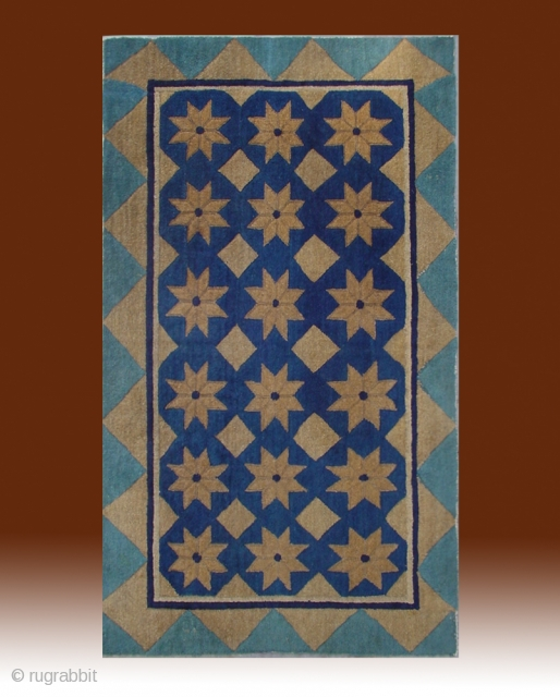 """No.DX003 * Chinese Antique Rug .Origin: Beijing .Age: About 100 Years Old.Size: 83x143cm(2'9""""x4'8"""").Background Color: Blues and Greens.Shape: Rectangle .This simple and elegant carpet has a field of stars and diamonds. The outer  ..."""