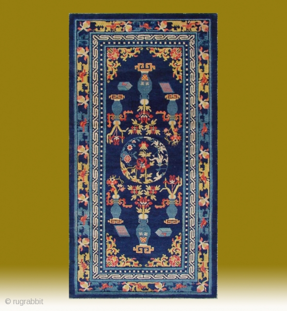"""No.CL061 * Chinese Antique Ningxia Rug """"Eight Buddhist and Daoist Symbols"""" from Tibet,Age: Early 19th Century. Size: 83x160cm(33""""x63"""").Origin: Ningxia.Shape: Rectangle.Background Color: Blues."""