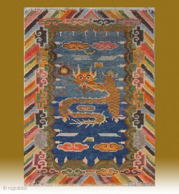 "No.CL064 * Tibetan ""Single Dragon"" Prayer Mat-Rug ,Late 19th Century. wool/wool. Origin: Tibet Shape: Rectangle. Size: 50x85cm(1'6""x2'9"").  Background Color: Blues"