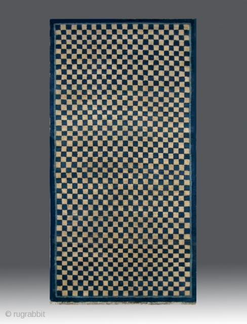 "No.CL063 * Chinese Antique Rug ""Checkerboard Design"", Origin:Baotou-Suiyuan. Late 19th Century. Size:90x172cm(35""x68"").Shape:Rectangle.  Background Color:White & Blues."