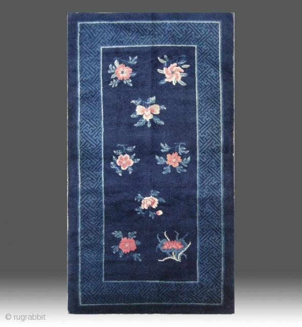 "No.R173 * Chinese Antique ""Flowers Design"" Rug. Age:19th Century. Size:94x179cm(37""x70""). Origin:Baotou. Shape:Rectangle. Background Color:Blues."