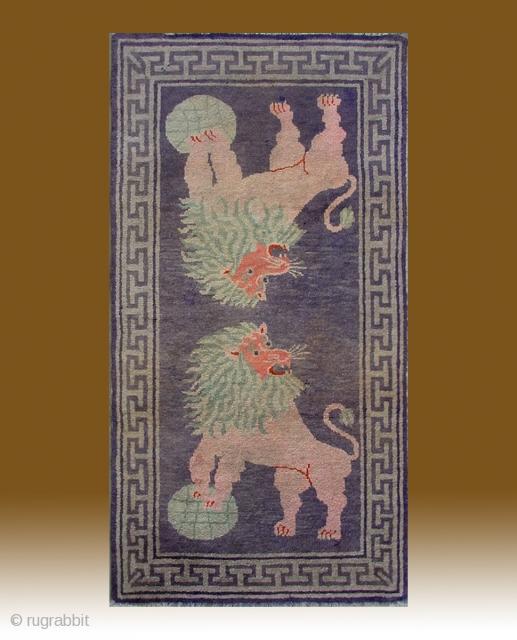 """No.R006 * Chinese Antique """"Lion"""" Rug ,Size: 80x155cm(31""""x61"""").Origin: Gansu-Qinghai.Shape: Rectangle. Background Color: Light Blues."""