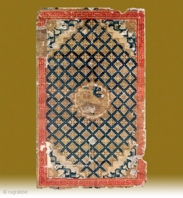 """No.CL050 * Chinese Ningxia """"Fo-Dog"""" Temple Rug(Fragments),Age:18/19th Century.Size:110x181cm(3'7""""x 5'11"""").Origin:Ningxia.Shape:Rectangle. Background Color:Blues."""