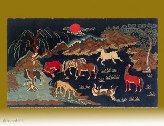 "No.CL054 * Chinese Antique ""Eight Horses"" Rug , Age:19th Century.Size:102x170cm (3'4""x5'7"" ). Origin:Baotou-Suiyuan. Shape:Rectangle.Background Color:Blues.