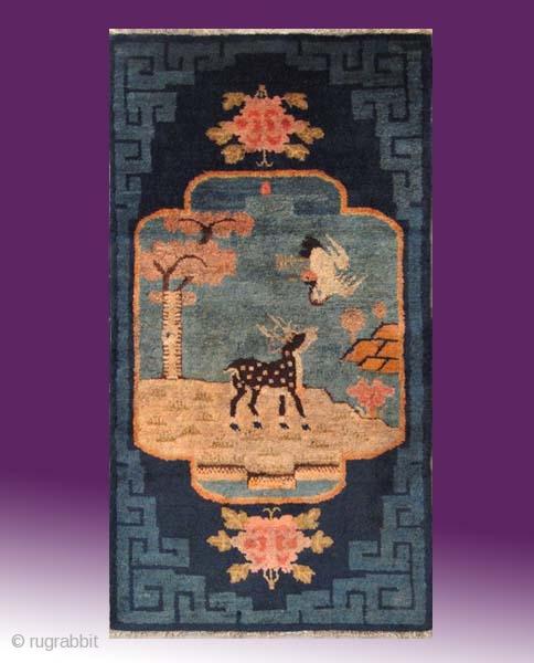 """No.A0036 * Chinese Antique """"Deer+Crane"""" Rug,Size: 59x103cm(23""""x41""""). Origin: Baotou.Shape: Rectangle.Background Color: Blues"""