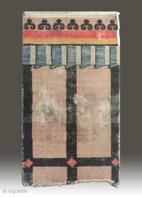 "No.R164 * Tibetan Door Curtain Rug.Age:Early 19th Century. Size:81x134cm(32""x53"").Origin:Tibet. Shape:Rectangle. Background Color:Off-whites,lvory.Wool/Wool.