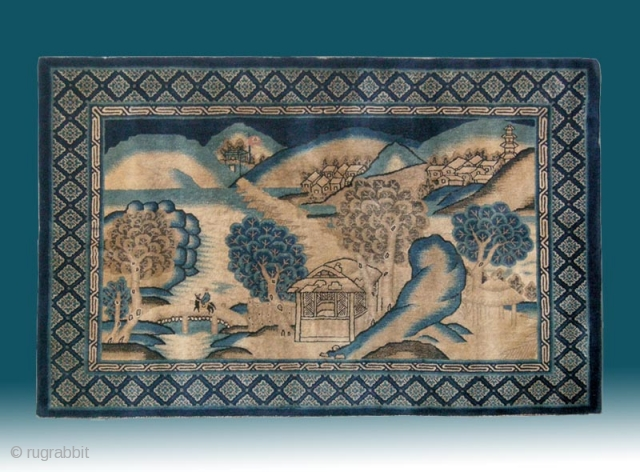 "No.D9098 * Chinese Antique ""Landscape"" Rug .Age: 19th Century. 