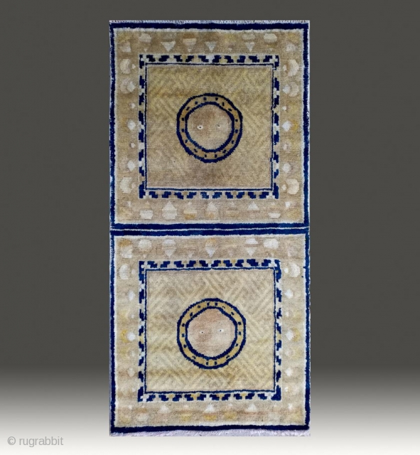 "No.R091 * Chinese Antique Ningxia Mat-Runner "" Tai Ji + Swastikas Design "" from Tibet , Age: 18/19th Century. Size: 67x132cm( 2'2"" x 4'4"" ). Origin: Ningxia Shape: Square.Background Color: Yellows."