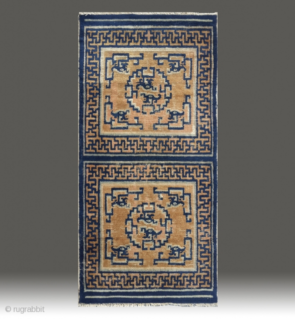 """No.R168 * Chinese Ningxia  """"Dragon"""" Mat-Rugs(Runner) from Tibet. Origin:Ningxia. Age:19th Century. Size:73 x 148cm( 29"""" x 58"""" ). Shape:Rectangle. Background Color:The Wood Reds."""