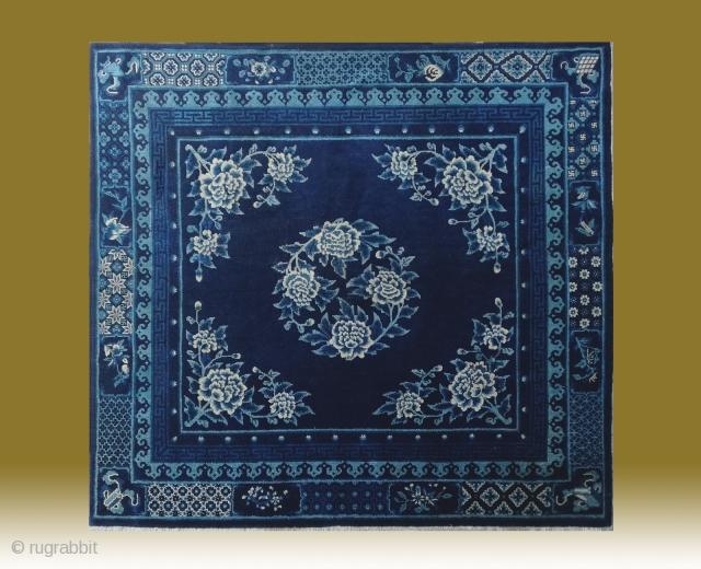 "No.R159 * Chinese Antique Rug ""Peony Flowers"", Age:19th Century.Size:163x177cm(5'4""x5'10""). Origin: Baotou-Suiyuan.Shape: Rectangle.Background Color: Blues"