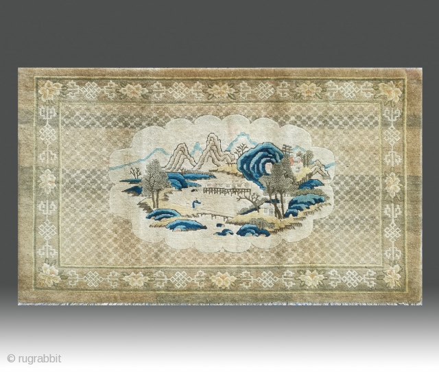 "No.CL062 * Chinese Antique ""Landscape"" Rug. Size:100x172cm(3'3""x5'7"").Age: 19th Century. Origin: Baotou-Suiyuan Shape: Rectangle. Background Color: Yellows."