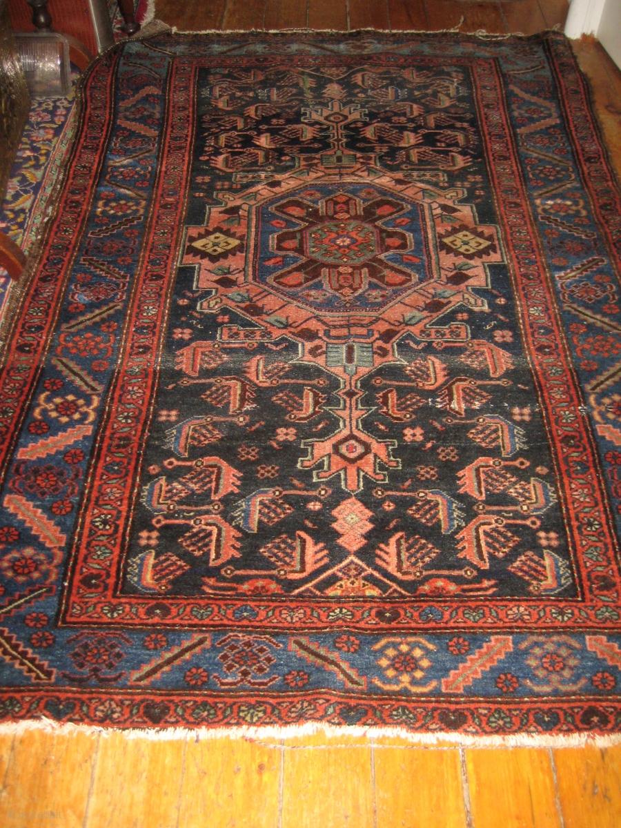 Antique Heriz 100 Wool Carpet Pre 1900 Beautiful Natural