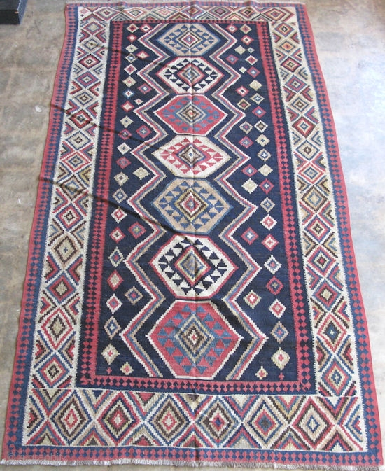 Shirvan Area Kilim, Hand Woven Wool, Fine Slit Tapestry