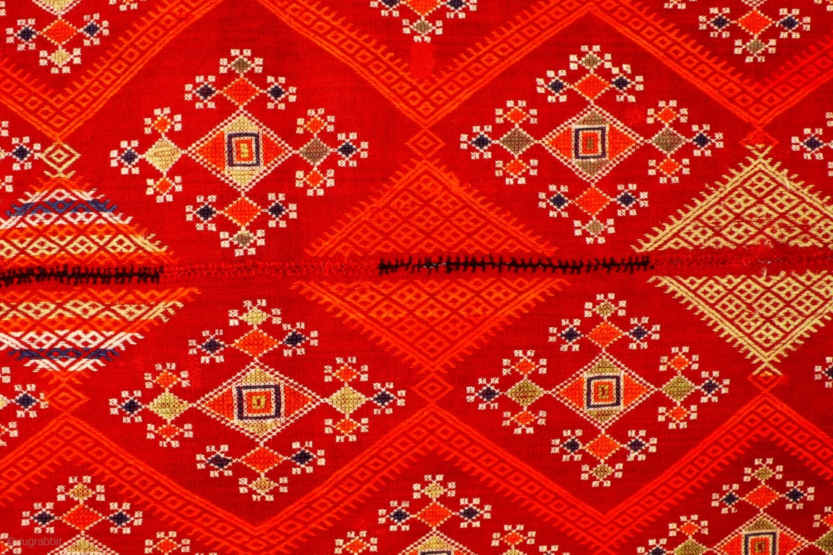 Odhani Embroidery On Fine Red Handwoven Cotton Cloth Rajasthan