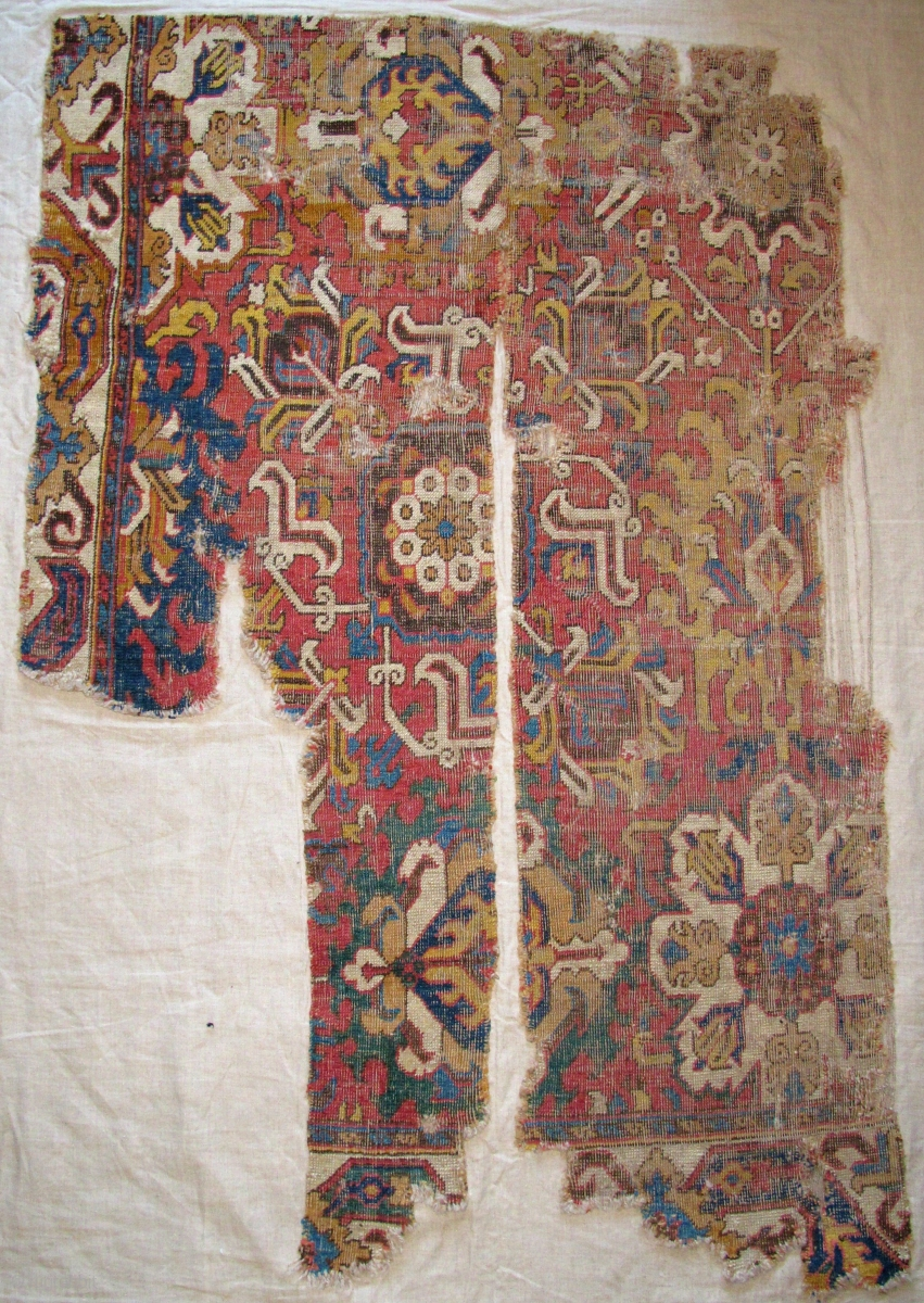 18th Century Drawing Room: Caucasian Blossom Carpet Fragment, Excellent Drawing And