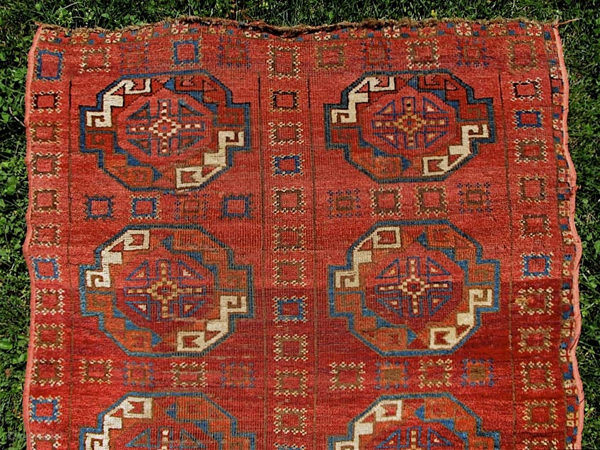 Turkmen carpet fragment, probably 2/3 of the field. 88� x 35 ...