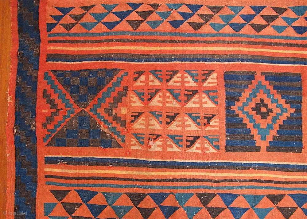 Old Gafsa Tunisian Kilim Nearly Square 86 Inches Long And