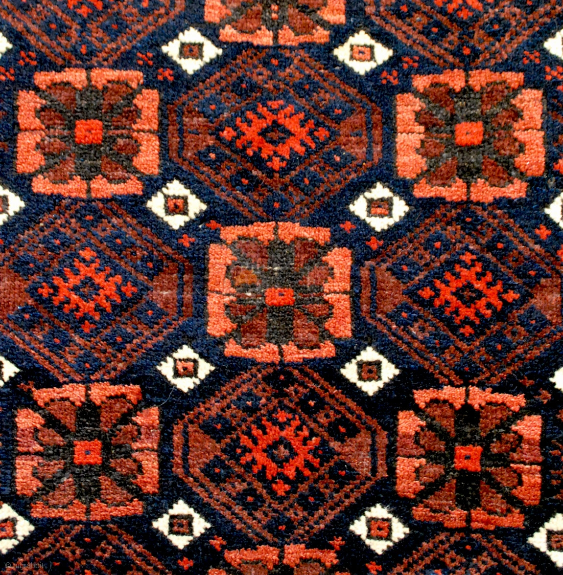 Very Attractive Small Baluch Rug With A Clean Mina Khani