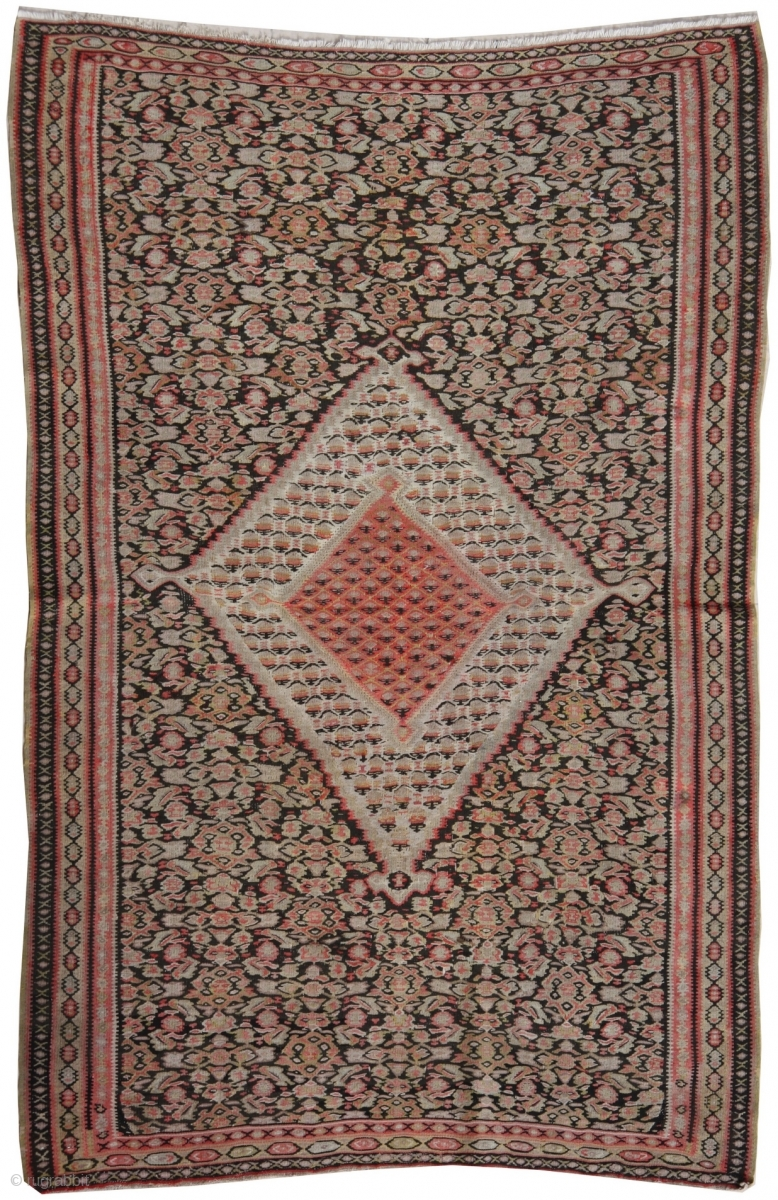 Finest Quality Antique Persian Senneh Kilim Rug This