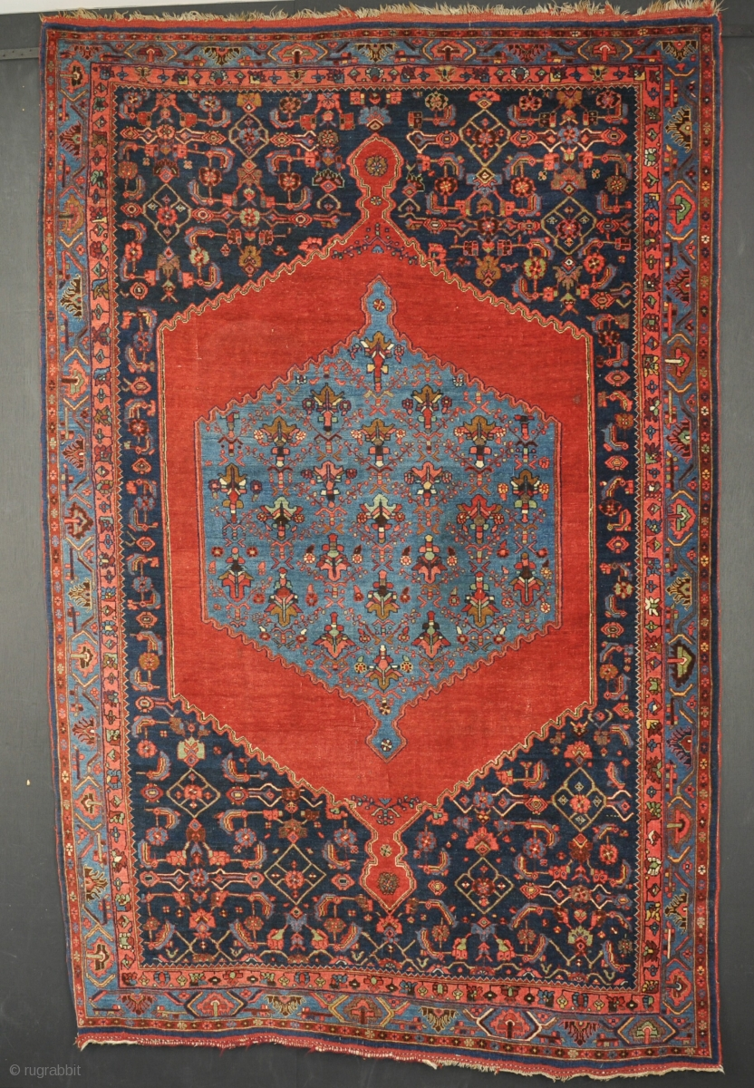 Wonderful An Antique Bijar Rug. All Wool Construction And Good Dyes. Very Slight Wear  In