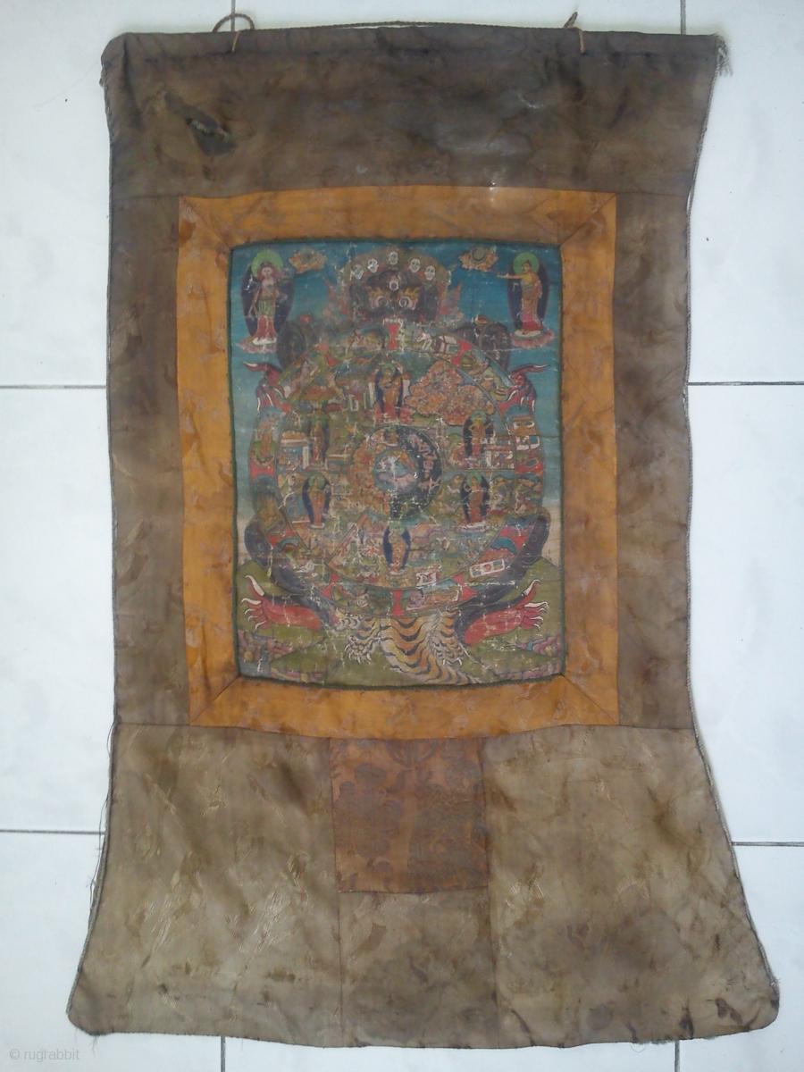 Very Old Rare Tibet Thangka Painting Tibetan Wheel Of