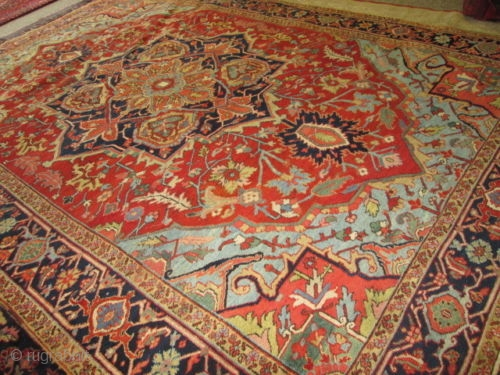 Antique Persian Heriz Serapi Circa 1910 Rug Stunning Colors And Design