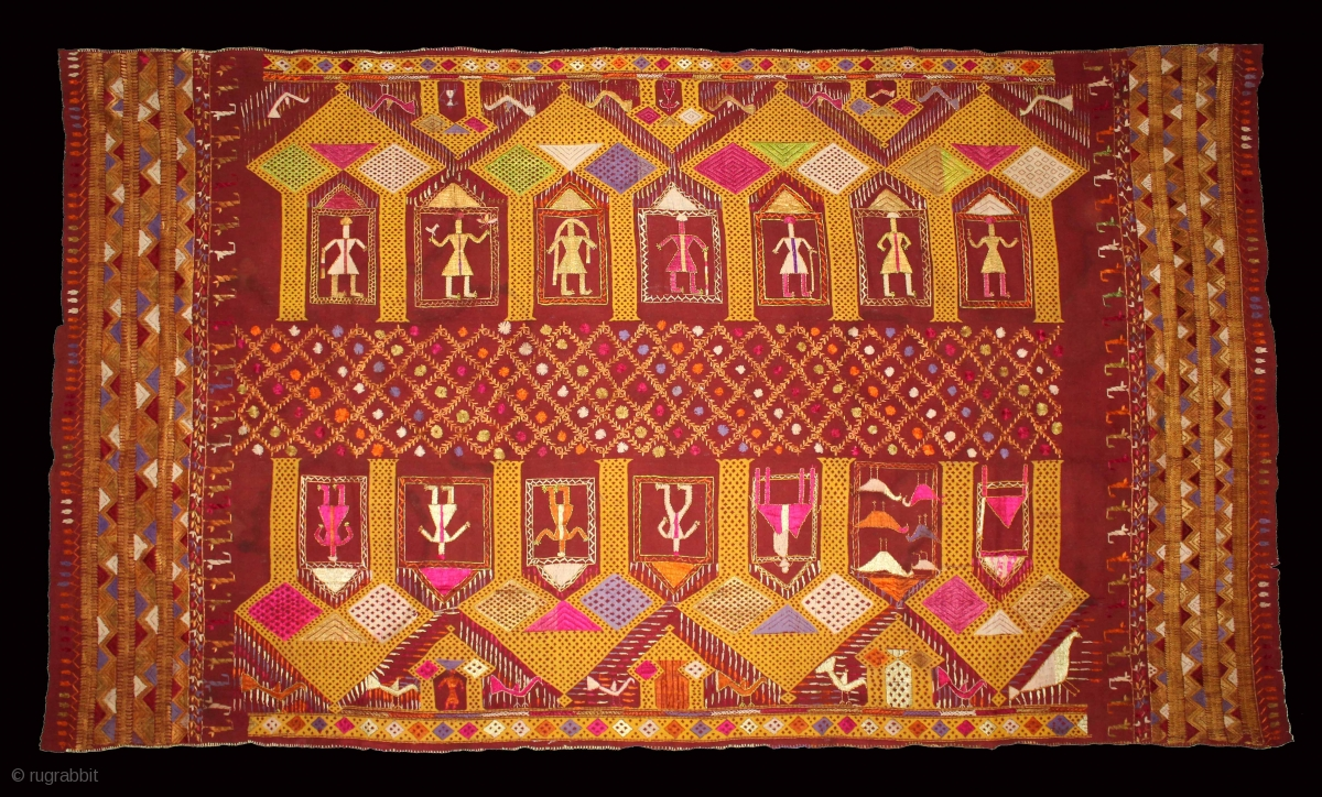 Vintage Phulkari From East India Punjab Called As Darshan