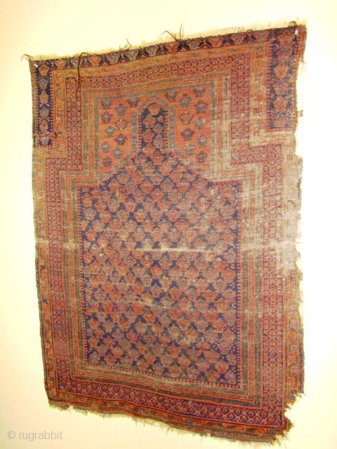 Battered But Old Baluch Prayer Rug Has Remnant Of The
