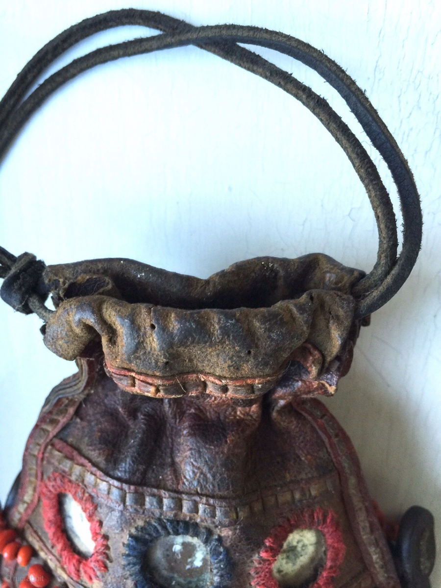 A Very Rare Antique Beaded Leather Bag From Tibet Or