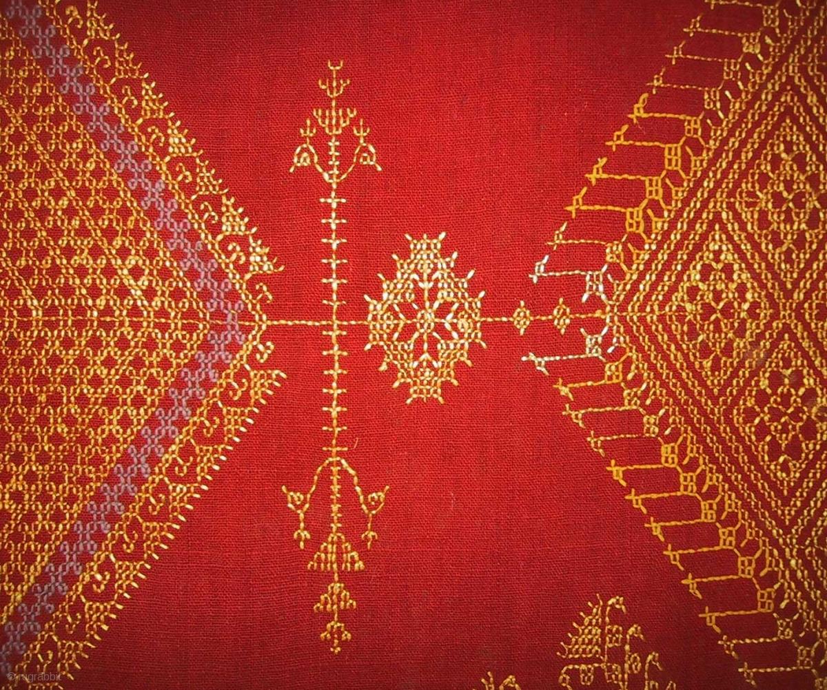 A Phulkari Chope Western Punjab C 1900 Floss Silk And