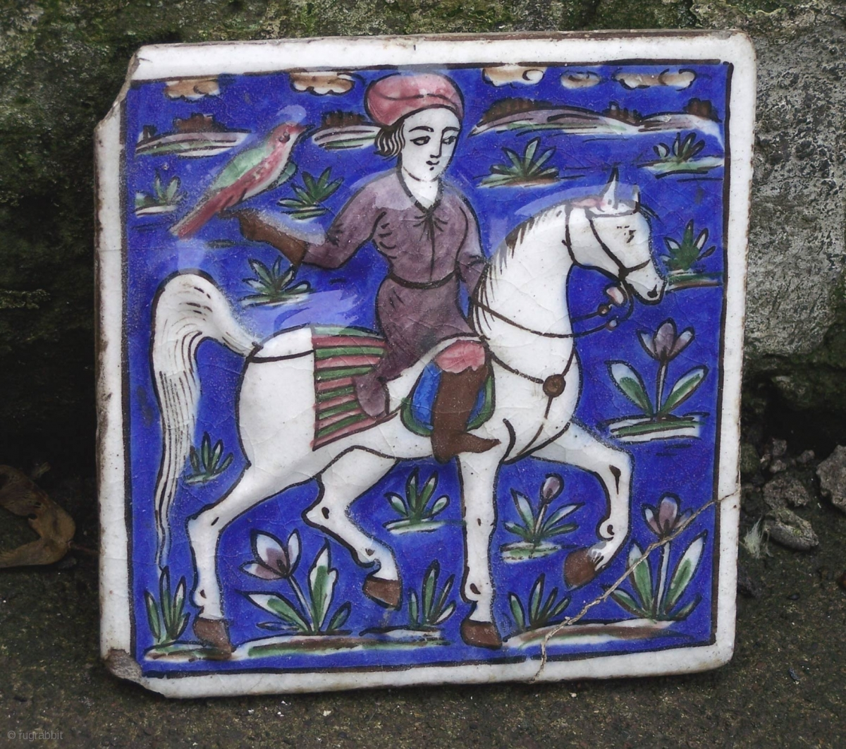 19th Century Qajar Relief Moulded Fritware Ceramic Tile