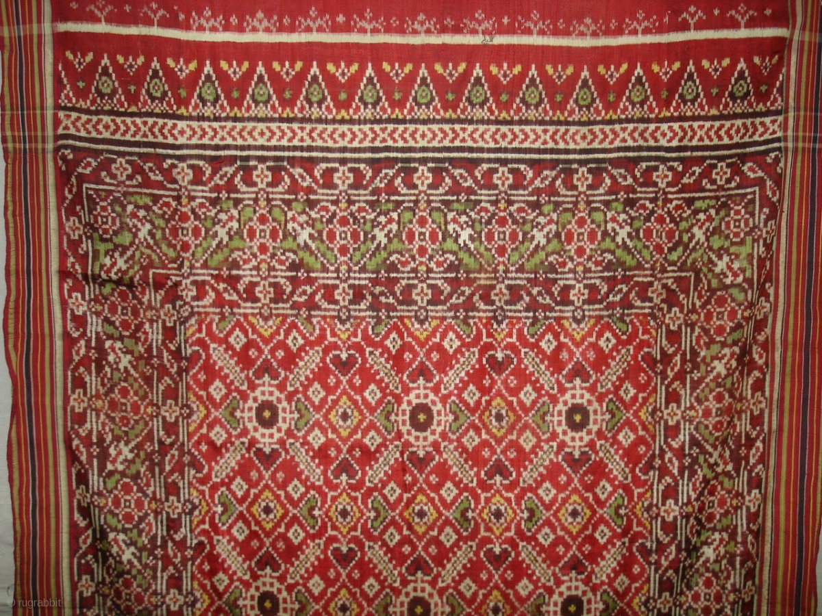 Ceremonial Patola Cloth Silk Double Ikat Its Size Is 95cm