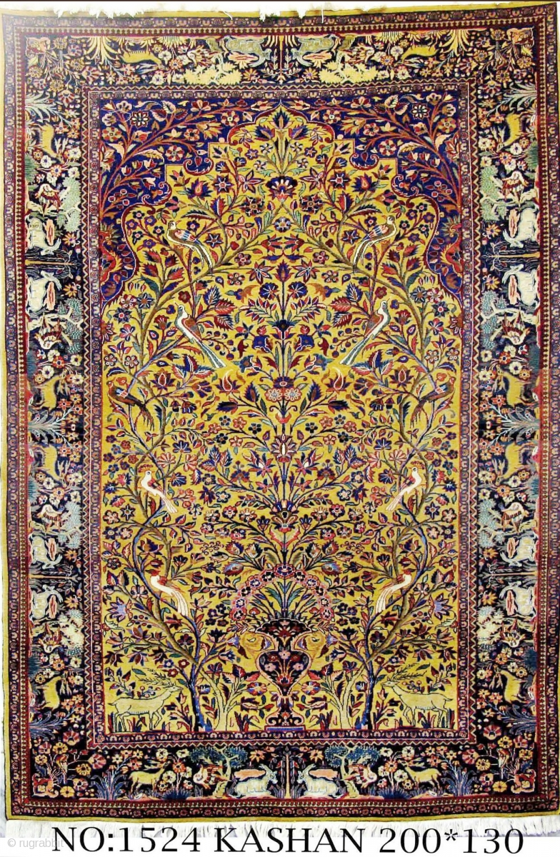 Rug No 1524 Persian Kashan Tree Of Life Design Circa 1910 Super