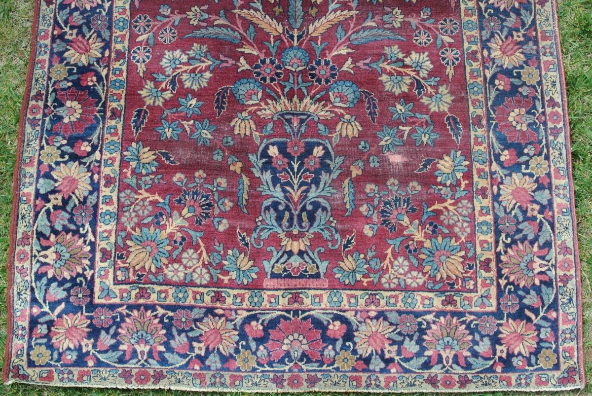 Antique Persian Rug Kerman Lavar Vase