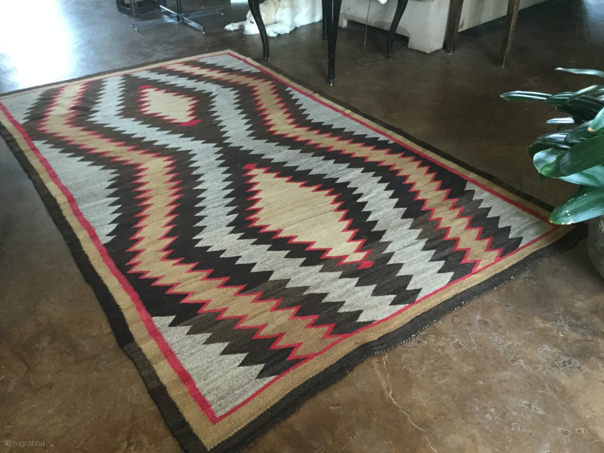For Sale Is A Very Handsome Old Navajo Rug Measuring 5 7 X 9 4 In