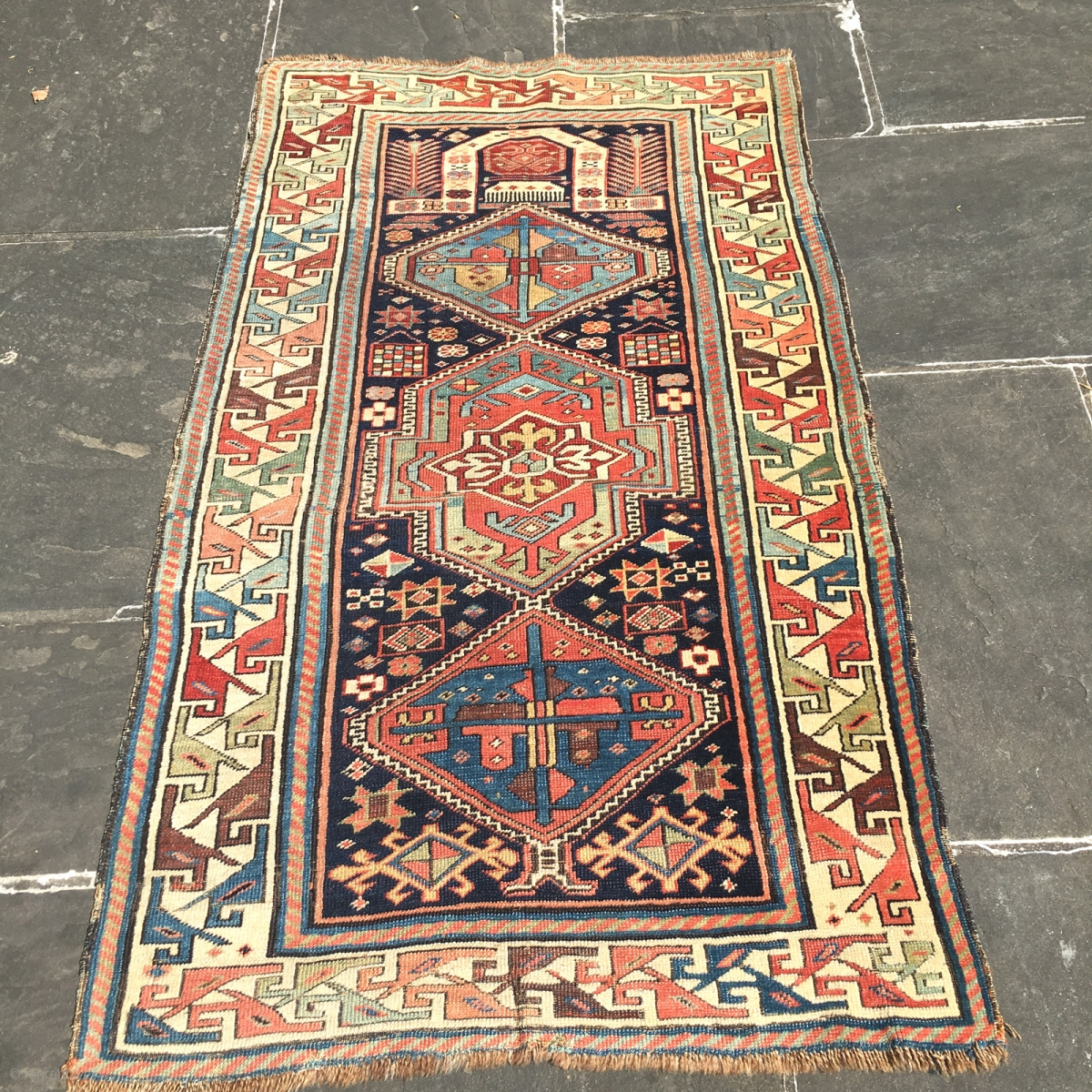Antique Akstafa Prayer Rug Caucasian Shirvan Circa 1880 S